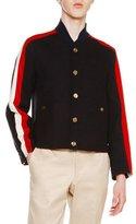 Thom Browne Wool Melton Striped-Sleeve Jacket, Navy