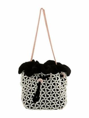Sophia Webster Velvet Embellished Bucket Bag Black
