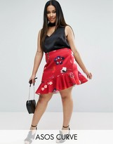 Asos Ruffle Mini Skirt in Spaced Floral