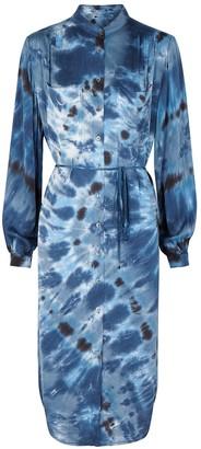 Raquel Allegra Blue Tie-dyed Brushed-satin Shirt Dress