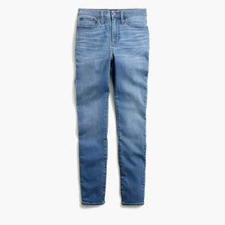"J.Crew Petite 10"" highest-rise skinny jean with grind hem in worn blue wash"