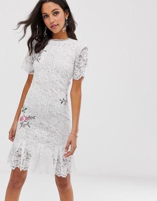 Liquorish lace midi dress with floral embroidery-White