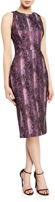 Zac Posen Metallic Python-Print High-Neck Cocktail Dress