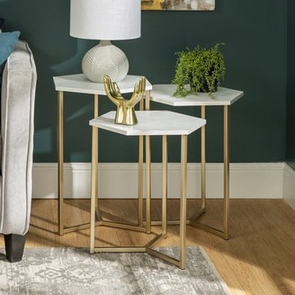 Manor Park Modern Wood Nesting Tables, Set of 3 - Faux White Marble/ Gold