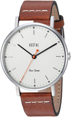 Vestal Sophisticate Leather Stainless Steel Swiss-Quartz Watch with Italian Strap