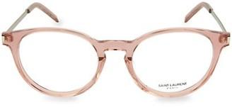 Saint Laurent 49MM Round Clear Core Blue Light Reading Glasses