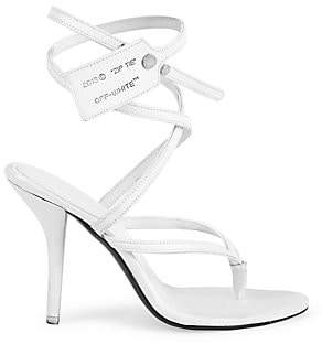 Off-White Women's Leather Zip Tie Ankle Strap Sandals