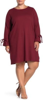 ELOQUII Tie Sleeve Rib Knit Dress (Plus Size)