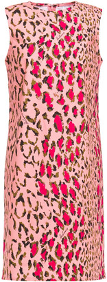 Carolina Herrera + Rose Cumming Leopard-print Stretch-cotton Mini Dress