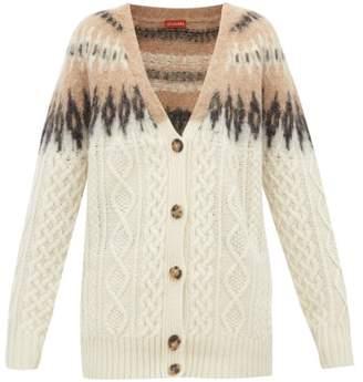 Altuzarra Sita Fair Isle Wool Blend Cable Knit Cardigan - Womens - Ivory Multi