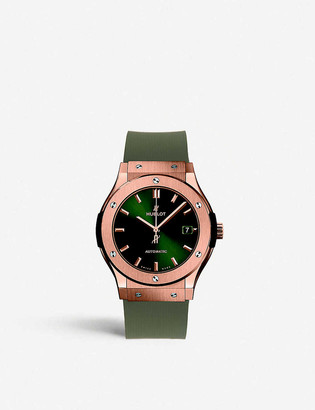 Hublot 521.OX.8980.LR Classic Fusion chronograph 18ct rose gold and rubber watch