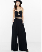 Express black cut out chain halter cropped top