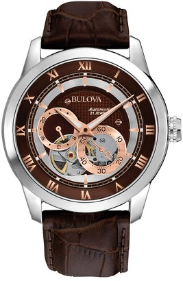 Bulova Men's Designer Automatic Self Winding Watch Leather Strap - Brown/Rose-Gold Dial 96A120