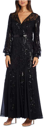 R & M Richards Sequined Blouson-Sleeve Gown