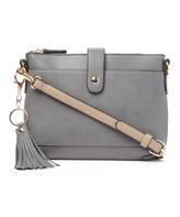 Kathy Ireland Gray Contrast-Strap Tassel Crossbody Bag