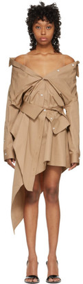 Alexander Wang Tan Asymmetric Deconstructed Shirt Dress