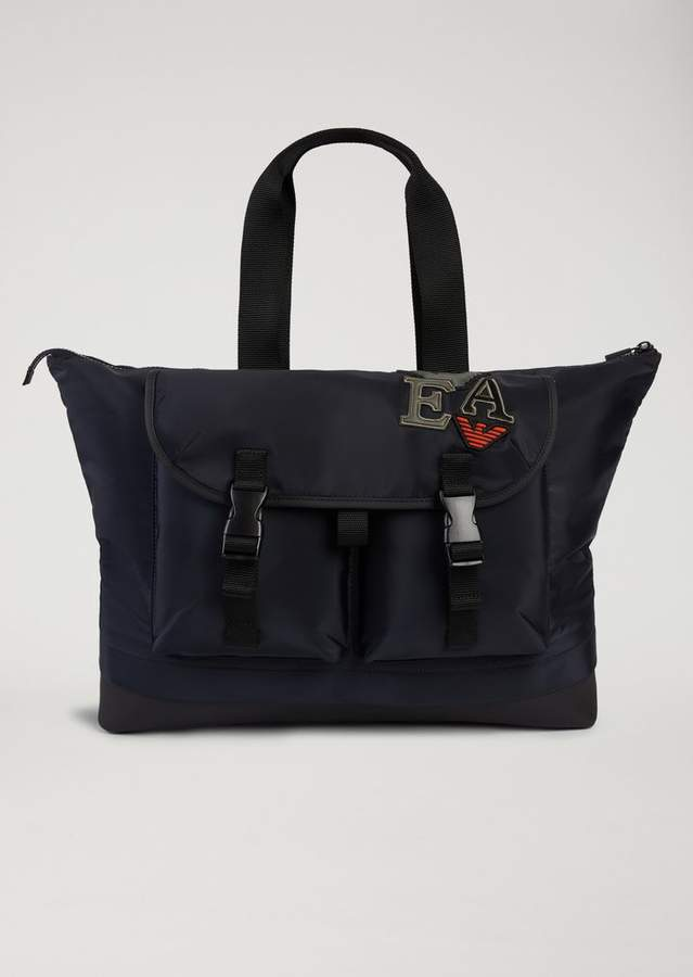 Emporio Armani Holdall With Maxi Pockets And Patches