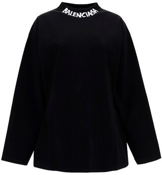 Balenciaga Logo Print Long-Sleeve T-Shirt