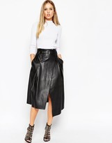 Asos Midi Skirt In Leather Look With Wrap Detail