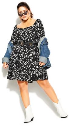 City Chic Miss Daisy Dress - black