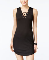 Material Girl Juniors' Hooded Lace-Up Bodycon Dress, Only at Macy's