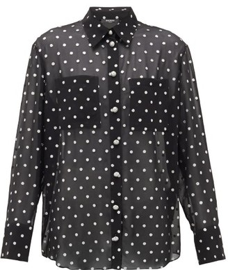 Balmain Blason-button Glitter Polka-dot Georgette Shirt - Black Silver