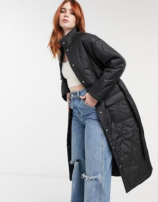 Bershka longline quilted coat in black