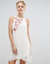 Little Mistress Shift Dress in Chiffon with Embroidery