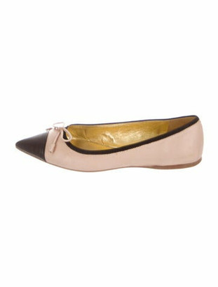 Prada Leather Bow Accents Ballet Flats