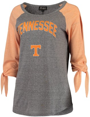Women's Gray Tennessee Volunteers Out 'n About Tie Tri-Blend Raglan 3/4-Sleeve T-Shirt