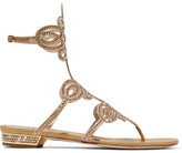 Rene Caovilla Embellished Leather And Satin Sandals - Gold