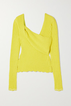 Bottega Veneta Paneled Ribbed Cotton-blend Boucle Sweater - Yellow