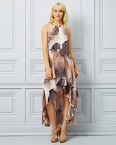Le Château Abstract Print Halter Neck Gown