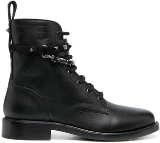 Valentino Rockstud-embellished lace-up ankle boots