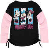 Jerry Leigh Black & Pink Minnie Mouse 'Minnie-Tude' Side-Cinch Tee - Girls