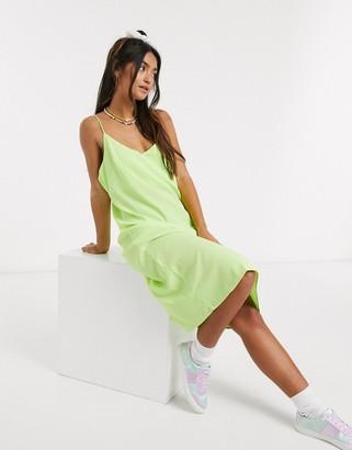 Brave Soul midi slip dress in lime