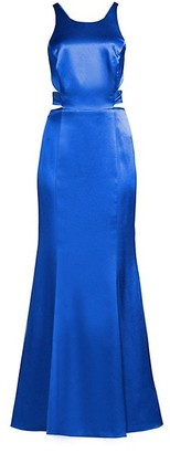 Aidan Mattox Liquid Satin Cutout Column Gown