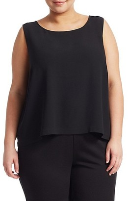 Eileen Fisher, Plus Size System Silk Georgette Boxy Shell