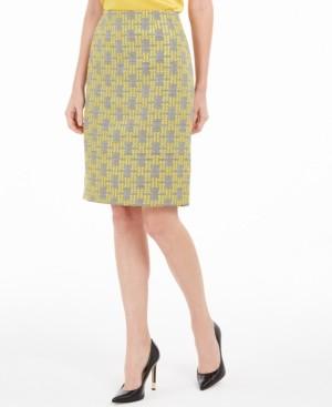 Kasper Jacquard Plaid Pencil Skirt