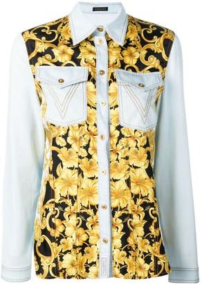 Versace baroque print denim shirt