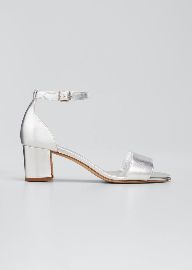 Thumbnail for your product : Manolo Blahnik 50mm Lauratomod Metallic Block-Heel Sandals