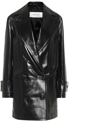 Valentino Double-breasted leather coat