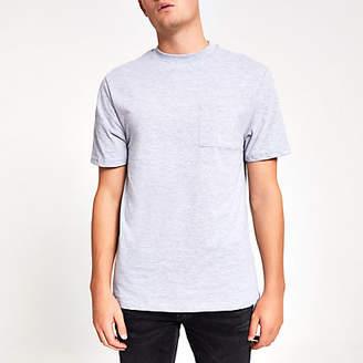 River Island Light grey chest pocket short sleeve T-shirt