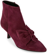 Alberto Zago Plum Bow-Accented Suede Pointed Toe Booties