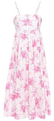 Les Rêveries Gathered Floral-print Cotton-poplin Midi Dress