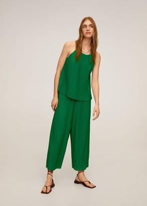 MANGO Pleated culotte trousers sand - S - Women