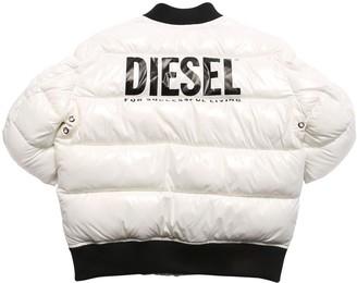 Diesel Logo Print Nylon Down Jacket