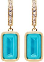 Alina Abegg Pfefferminz Turquoise, Diamond 14K Yellow Gold Hoop Earrin