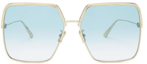 Thumbnail for your product : Christian Dior Everdior Square Metal Sunglasses - Blue Gold