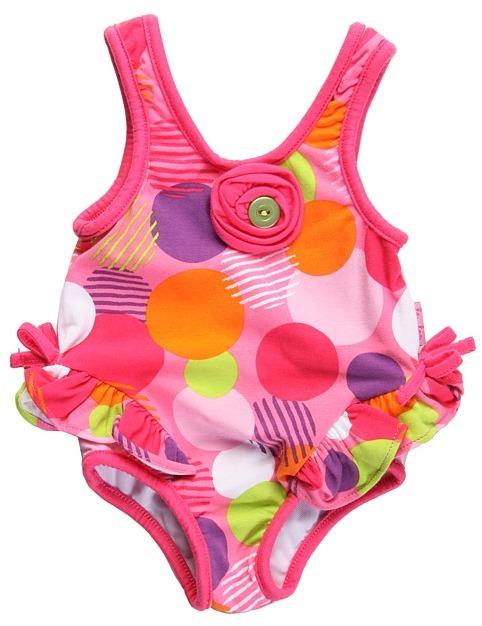 Le Top Razzle Dazzle Tank Swimsuit With Hip Flip (Newborn) (Candy Pink) - Apparel